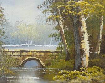 Vintage Oil Painting on Board  Forest River Bridge Landscape Scene Autumn Fall Framed Artist Signed