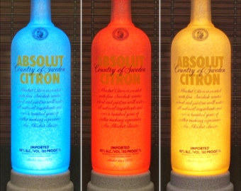 Absolut Citron Vodka 1 liter Color Changing Remote Controlled LED Liquor Bottle Lamp Bar Light Bodacious Bottles
