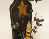 Candle Holder Lighted Arrangement with Rusty Star, Country Christmas Lighted Wall Decor