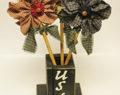 Patriotic USA Twig Box with Homespun Fabric Flowers, Primitive Americana Floral Arrangement