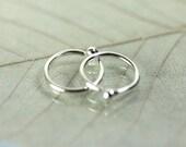 10 mm Hoop Earrings with Ball End - Argentium Sterling Silver Sleepers in Pairs