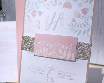 """Mint and Pink Wedding Invitation – Floral Wedding Invitations – Rustic Invitation – County Pink Wedding Invite – """"Pastel Passion"""" Deposit"""