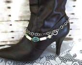 Double Strand Boot Anklet..Silver Chain & Boho Colors..Turquoise and Ivory with Large Decorative Clasp
