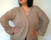Natural Beige Oversized Cardigan Knit  Jacket Woman Sweater  Cardigan NEW