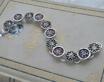 Vintage Antique Victorian Era Metal Picture Button Buttons Bracelet Jewelry One Of A Kind OOAK Unique