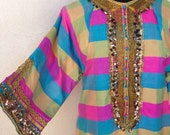 Vintage boho kaftan long dress Thai silk gold accents pockets custom made sz S/M