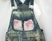 Women's Denim Overalls ~ Bib Overalls ~ Vintage Shabby Pink Flowers Faded Blue DENIM - Farm girl ~ Hippie Chic ~ Gardener Sweet ~ size small