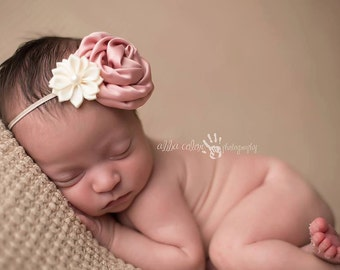 Baby Headband, Newborn Headband, Flower Headband- Mauve and Ivory Headband Newborn Flower Headband