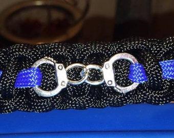 Law Enforcement Thin Blue Line bracelet with handcuffs