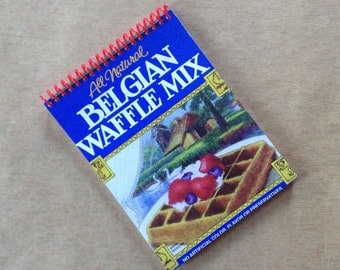 BELGIAN WAFFLES MIX repurposed packaging recycled spiral bound journal notebook
