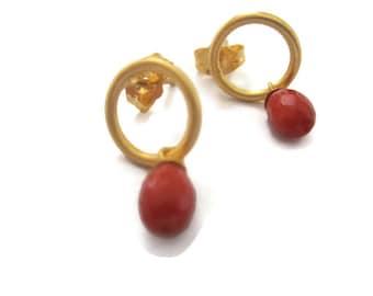 Gold Vermeil  Coral Earrings  Circle Post Gold Earrings, Red Coral  Drops, Circle Ring Studs Artisan Handmade by Sheri Beryl