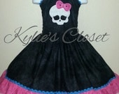 Monster High themed inspired skull with bow Halter ruffle dress with elastic back