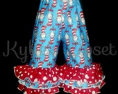 Custom Listing for Cat in the Hat Ruffle Pants size 8 - Celebration - Special Occasion - Dr. Seuss - Blue, Red & White - Gift - Summer