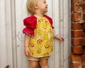 Adorable Winnie the Pooh Babydoll Top for Girls - Shirt - Yellow & Red - Theme - Baby Shower - Gift - Birthday - Party - Special Occasion