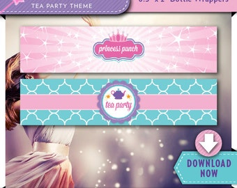 Princess Tea Party Water Bottle Labels   Wrappers   Printable Birthday Party Decorations   Instant Download