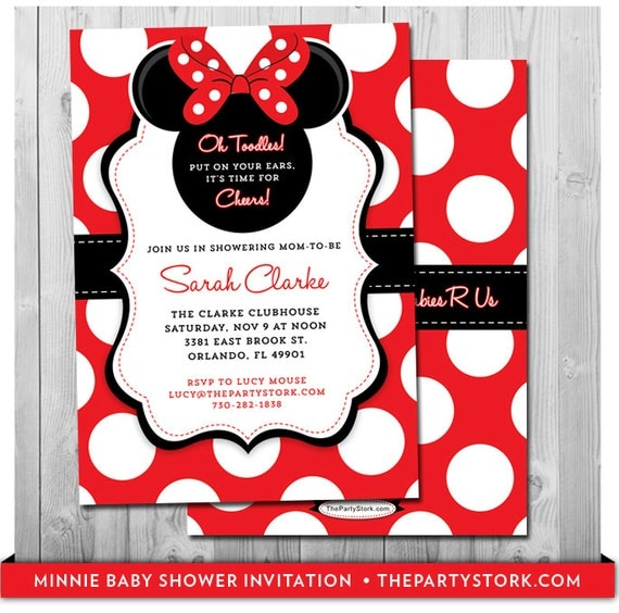 Minnie Mouse Baby Shower Invitation Printable Baby Shower Invite