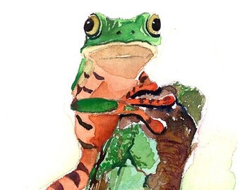 ACEO Limited Edition 4/25 - Green frog on a stem, Frog art print of an original watercolor ACEO painting, Small gift idea for animal lovers