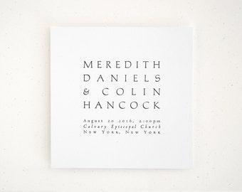 NAVONA Letterpress Wedding Invitation - Modern Minimal Invite - Simple Classic (Sample)
