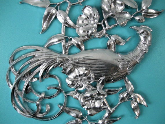 "Mid Century Bird Wall Art Hanging Syroco Shabby Chic Measures 28 3/4"" x 17"" Flowers Leaves Upcycled Silver"