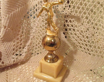 Vintage Men's Bowling Trophy on Heavy Celluloid Base