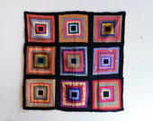 """Antique Textile 1930's Silk Large Quilt Panel 40"""" x 41"""" Square Hand Made Folk Art Delicate Wall Hanging Tapestry Quilt"""