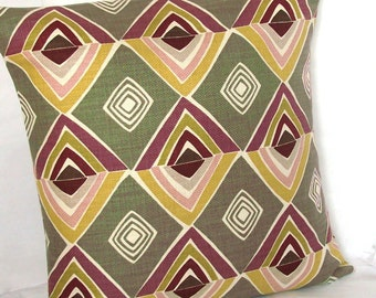 SALE Purple Tan Taupe Throw Pillow Cover, Designer Abstract Tribal - 20x20 inch Decorative Cushion Cover - Multi-color Retro, Ready to Ship