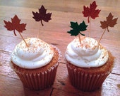 Autumn Leaves Mini-Cupcake Toppers --Thanksgiving Decoration / Cake Topper
