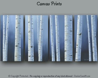large wall art birch tree painting canvas print set 4 piece multi panel panoramic wide aspen navy blue white home decor bedroom office aspen white painted bedroom