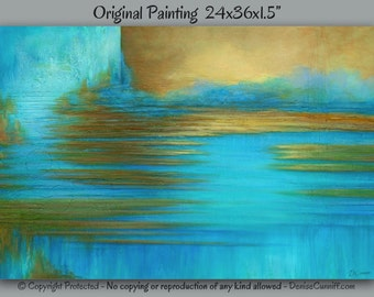 Large wall art, Canvas abstract painting, Texture, Bedroom decor, Teal home decor, Turquoise, Aqua, Blue & brown living room artwork, Office
