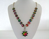 Glamorous Star Necklace with Iridescent Rainbow Glass Sparkles Glitz & Glam Party Dress Bling for Date Night Unique Gifts for Her Birthday