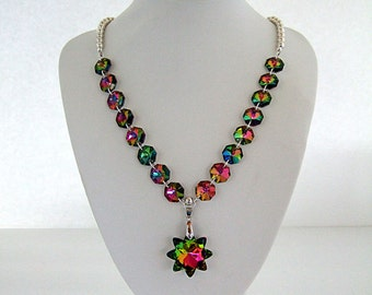 Glamorous Rainbow Colors Star Necklace Iridescent Sparkling Glitz & Glam Party Dress Bling Date Night Mother's Day Gift Gifts for Her