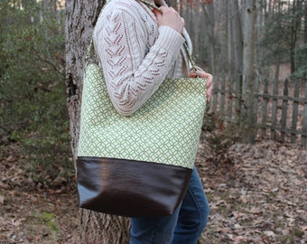 Oversized Bucket Bag Tote in Green Geometric Canvas Dark Brown Faux Leather