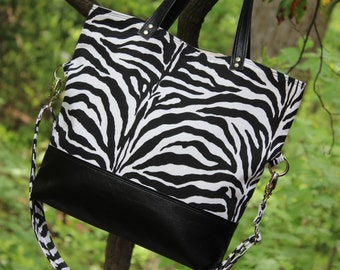 Crossbody Foldover Purse Handbag Convertible Small Tote in Black and White Zebra Print Canvas with Black Faux Leather Bottom