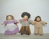 Wild West Bendy Dolls, Dollhouse People, Poseable, Cowboy in Hat, Indian Boy, Prairie Girl, Western