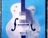 Blue guitar art, music wall decor, musicians gift, gift for guy, gift for boyfriend, hipster, dude, rock n roll art