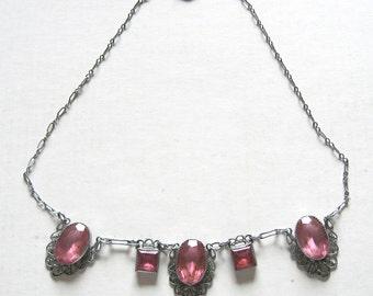 Art Deco Necklace Raspberry Pink Glass Filigree Silver Vintage 1920s Czech Glass