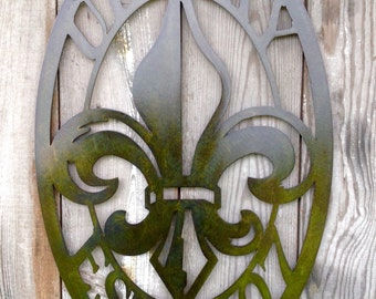 Customizable Oval Antique Bronze Plated Steel Wall Mount Style 3 Fleur de lis Personalized Metal