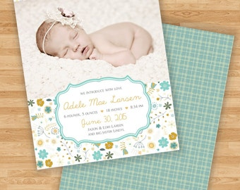 NEW Baby Girl Birth Announcement - Shabby Chic Vintage Hand Drawn Floral Design - Double Single Sided