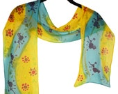 CLEARANCE!  Cheerful poodle motif scarf in yellow and sky blue