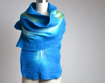 Nuno Felted Scarf - Felted Scarf - Merino Wool Felted Scarf - Merino Wool Silk Scarf - Winter Scarf - Gift for Her