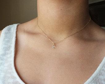 Layering Necklace - Swarovski Crystal Necklace - Dainty Necklace - Sterling or Gold Necklace - Everyday Necklace