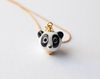 Cute Baby Panda Charm Necklace / Lampwork Glass Panda Bead Necklace