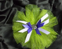 Neon Green and Purple Hair Bow