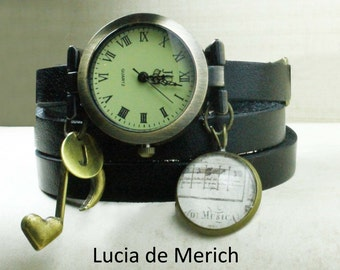 Music wrist watch - Personalized Note and music watch -  Initial Music watch- Music lover gift - Piano gift