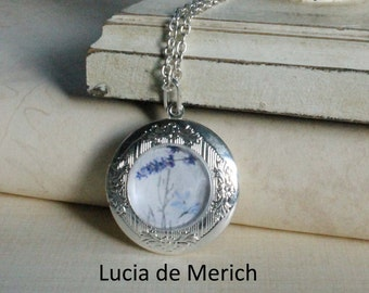 Lavender locket necklace - Floral locket necklace - Bridal jewelry -Coupon code