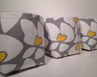 Mini Fabric Storage Basket Bin Organizer Storage Containers (Set of 3)-Floral Print in Yellow, Gray, and White withSolid Light Gray Interior