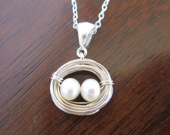 Birds Nest Pearl Necklace-Mother Baby Necklace-Twin Baby Shower Gift-New Mom-Fine Silver Necklace