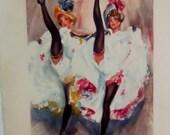 Antique Cancan Dancers Print Vintage French Cancan Girls ca 1890 Paper Ephemera Print Retro Print Cancan Dancers