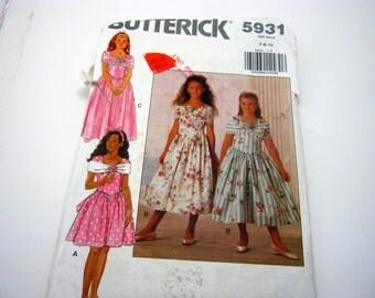 Butterick 5931 Pattern 1990's Girly Lolita Dress Long Size  7,8,10 Children  Vintage