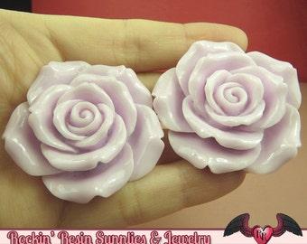 2 pcs 42mm Pale Purple ROSES Resin Flower Cabochons / Decoden Flatback Cabochon